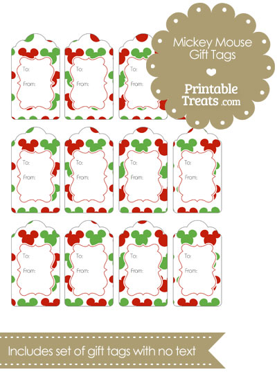 Mickey Mouse Christmas Gift Tags from PrintableTreats.com