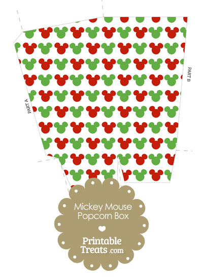 Mickey Mouse Christmas Popcorn Box from PrintableTreats.com