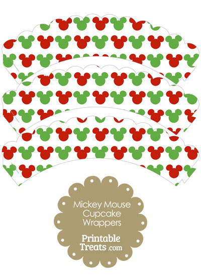 Mickey Mouse Christmas Scalloped Cupcake Wrappers from PrintableTreats.com