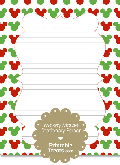 Mickey Mouse Christmas Stationery Paper from PrintableTreats.com