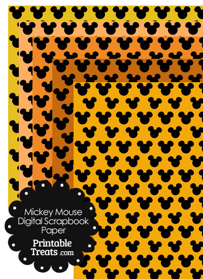 Mickey Mouse Digital Scrapbook Paper with Orange Background from PrintableTreats.com