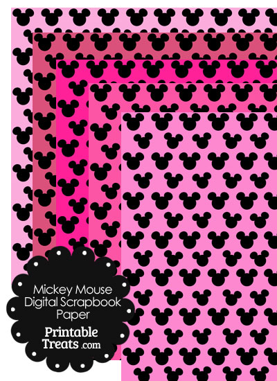 Mickey Mouse Digital Scrapbook Paper with Pink Background from PrintableTreats.com