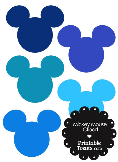 Mickey Mouse Head Clipart in Shades of Blue from PrintableTreats.com