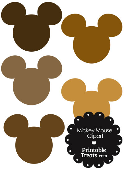 Mickey Mouse Head Clipart in Shades of Brown from PrintableTreats.com