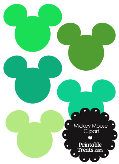 Mickey Mouse Head Clipart in Shades of Green from PrintableTreats.com