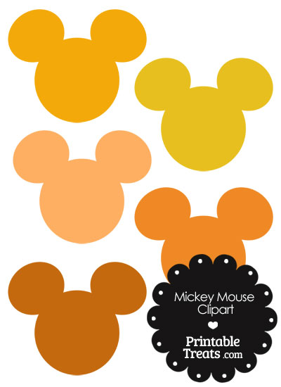 Mickey Mouse Head Clipart in Shades of Orange from PrintableTreats.com
