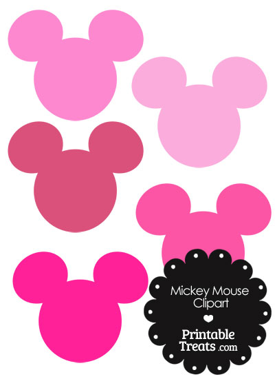 Mickey Mouse Head Clipart in Shades of Pink from PrintableTreats.com