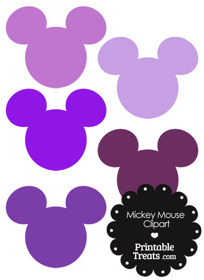 Mickey Mouse Head Clipart in Shades of Purple from PrintableTreats.com