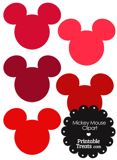 Mickey Mouse Head Clipart in Shades of Red from PrintableTreats.com