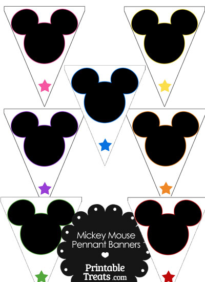 Mickey Mouse Head Pennant Banners from PrintableTreats.com