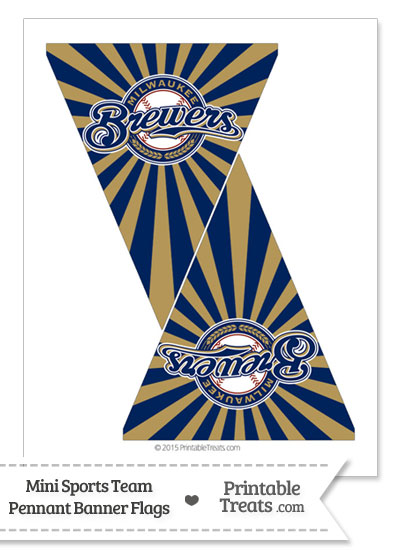 Milwaukee Brewers Mini Pennant Banner Flags from PrintableTreats.com
