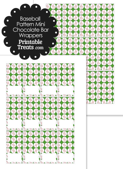 Mini Green Baseball Pattern Chocolate Bar Wrappers from PrintableTreats.com