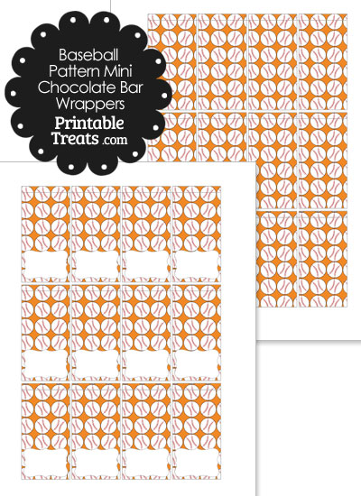 Mini Orange Baseball Pattern Chocolate Bar Wrappers from PrintableTreats.com