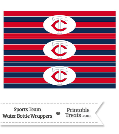Minnesota Twins Water Bottle Wrappers from PrintableTreats.com