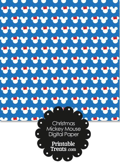 Minnie and Mickey Snow Theme Digital Scrapbook Paper from PrintableTreats.com