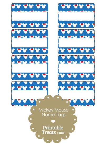 Minnie and Mickey Snow Theme Name Tags from PrintableTreats.com