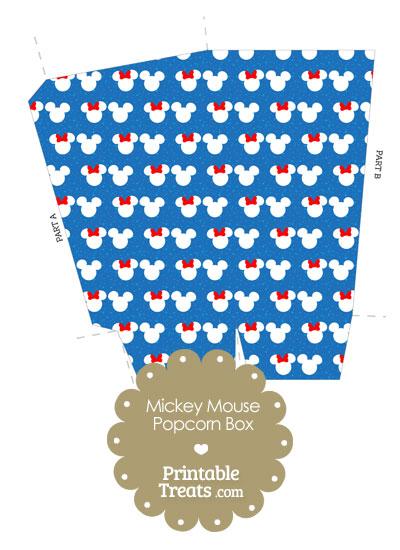 Minnie and Mickey Snow Theme Popcorn Box from PrintableTreats.com