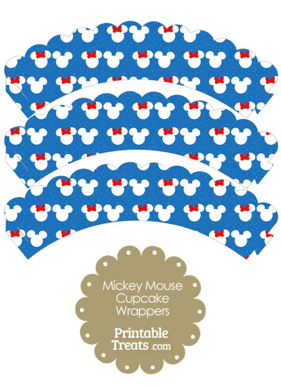 Minnie and Mickey Snow Theme Scalloped Cupcake Wrappers from PrintableTreats.com