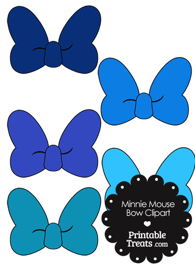 Minnie Mouse Bow Clipart in Shades of Blue from PrintableTreats.com