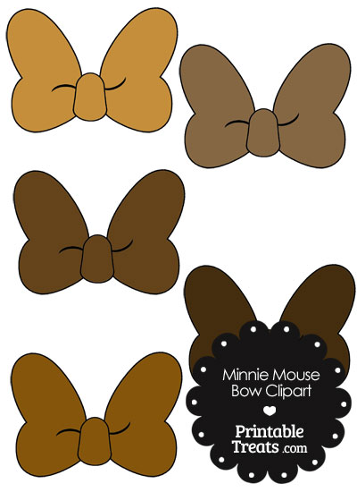 Minnie Mouse Bow Clipart in Shades of Brown from PrintableTreats.com