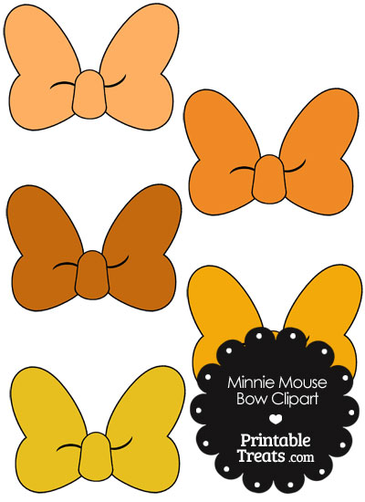 Minnie Mouse Bow Clipart in Shades of Orange from PrintableTreats.com