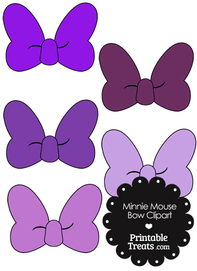 Minnie Mouse Bow Clipart in Shades of Purple from PrintableTreats.com