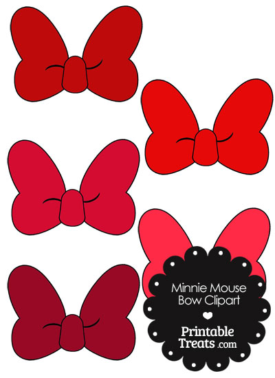 Minnie Mouse Bow Clipart in Shades of Red from PrintableTreats.com
