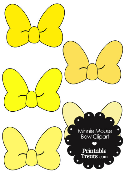 Minnie Mouse Bow Clipart in Shades of Yellow from PrintableTreats.com