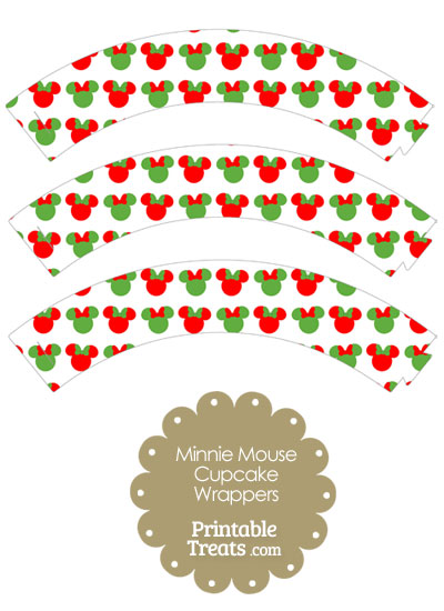 Minnie Mouse Christmas Cupcake Wrappers from PrintableTreats.com