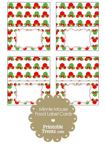 Minnie Mouse Christmas Food Labels from PrintableTreats.com