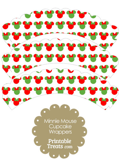 Minnie Mouse Christmas Scalloped Cupcake Wrappers from PrintableTreats.com