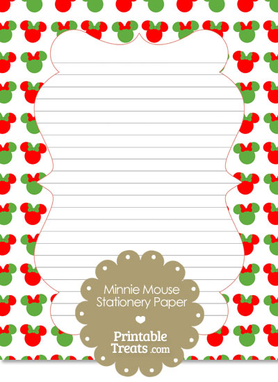 Minnie Mouse Christmas Stationery Paper from PrintableTreats.com
