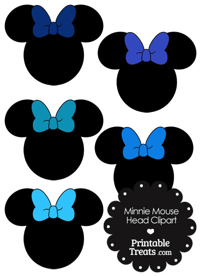 Minnie Mouse Head Clipart with Blue Bows from PrintableTreats.com