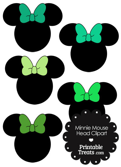 Minnie Mouse Head Clipart with Green Bows from PrintableTreats.com