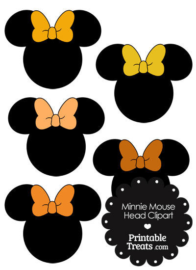 Minnie Mouse Head Clipart with Orange Bows from PrintableTreats.com