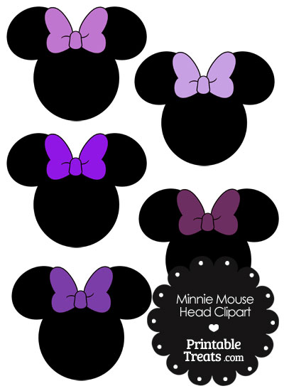 Minnie Mouse Head Clipart with Purple Bows from PrintableTreats.com