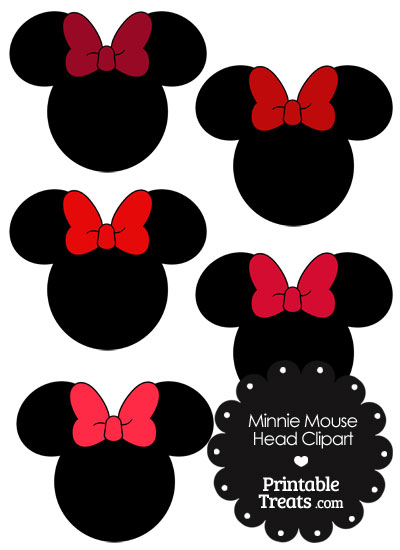 Minnie Mouse Head Clipart with Red Bows from PrintableTreats.com