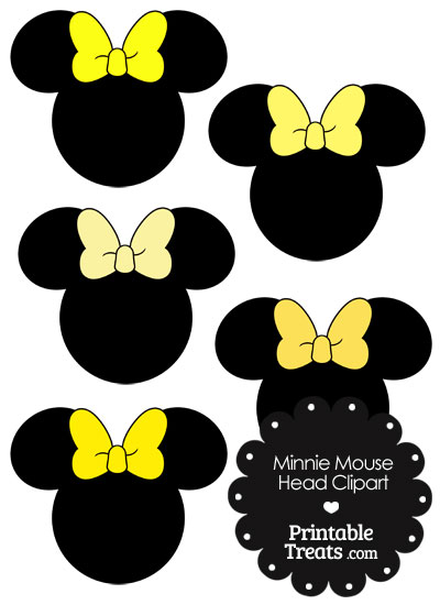 Minnie Mouse Head Clipart with Yellow Bows from PrintableTreats.com