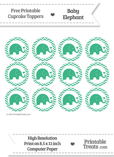 Mint Green Baby Elephant Chevron Cupcake Toppers from PrintableTreats.com