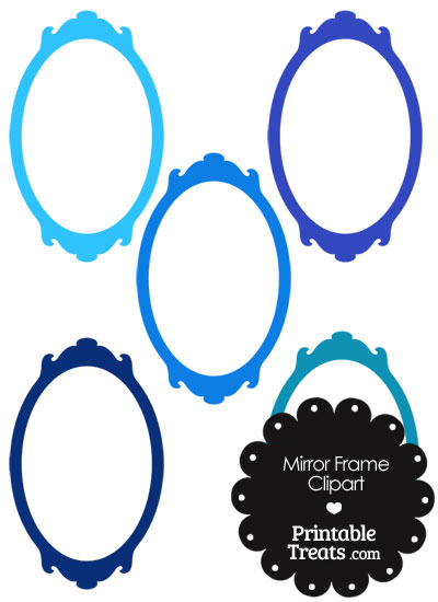 Mirror Frame Clipart in Shades of Blue from PrintableTreats.com