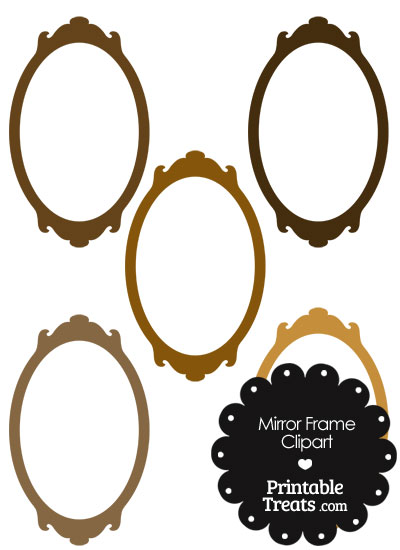 Mirror Frame Clipart in Shades of Brown from PrintableTreats.com