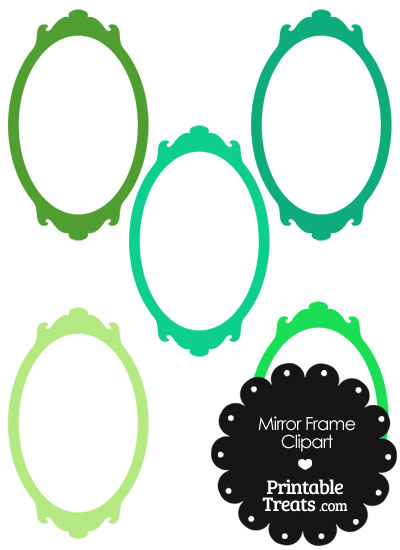 Mirror Frame Clipart in Shades of Green from PrintableTreats.com