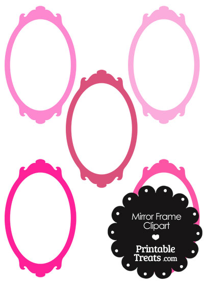 Mirror Frame Clipart in Shades of Pink from PrintableTreats.com