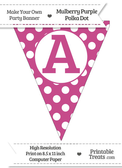 Mulberry Purple Polka Dot Pennant Flag Capital Letter A from PrintableTreats.com