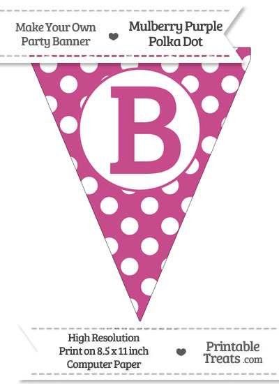 Mulberry Purple Polka Dot Pennant Flag Capital Letter B from PrintableTreats.com