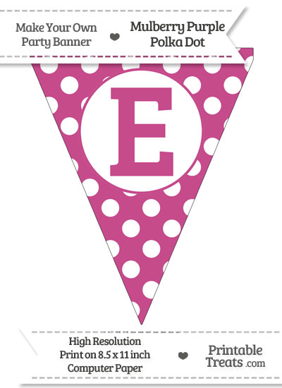 Mulberry Purple Polka Dot Pennant Flag Capital Letter E from PrintableTreats.com