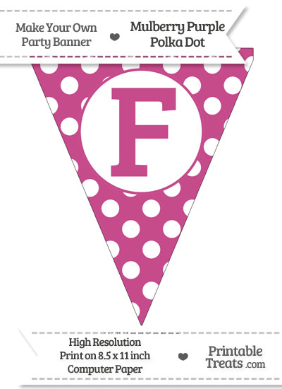 Mulberry Purple Polka Dot Pennant Flag Capital Letter F from PrintableTreats.com
