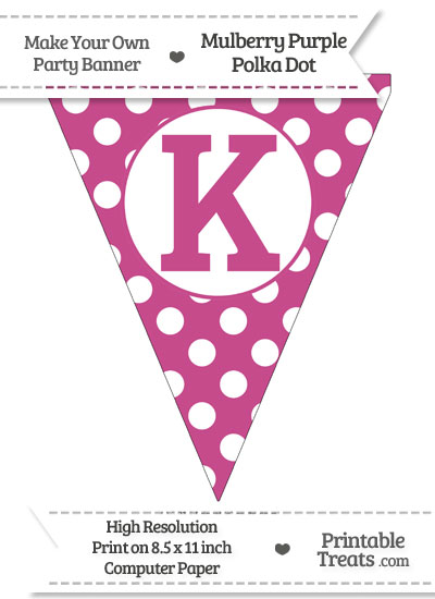 Mulberry Purple Polka Dot Pennant Flag Capital Letter K from PrintableTreats.com