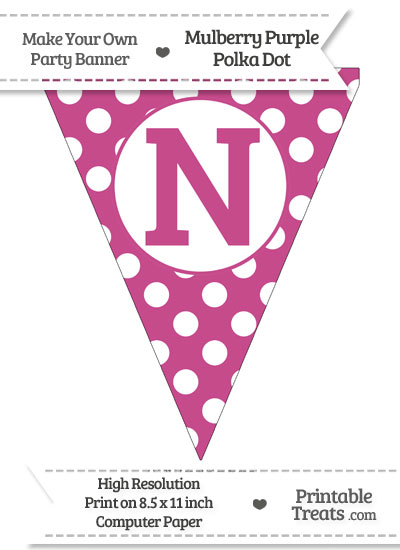 Mulberry Purple Polka Dot Pennant Flag Capital Letter N from PrintableTreats.com
