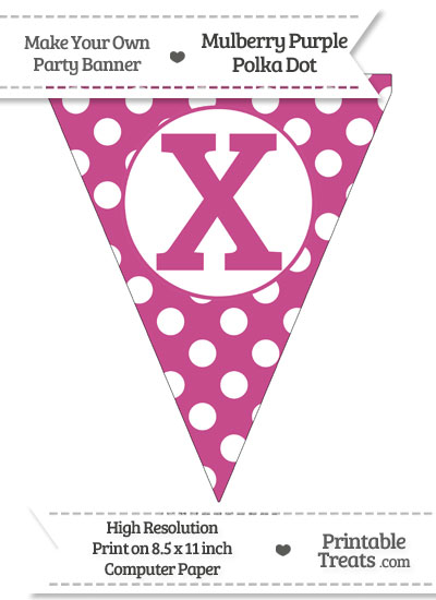 Mulberry Purple Polka Dot Pennant Flag Capital Letter X from PrintableTreats.com